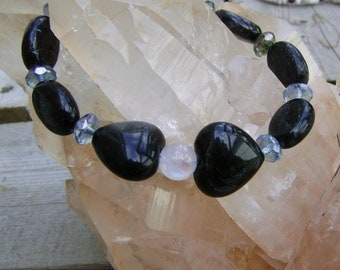 Obsidian Heart and Sterling Silver Bracelet, Silver Sheen Obsidian Hearts and Rainbow Moonstone Bracelet, Obsidian Jewelry, Heart Jewelry