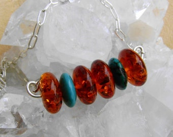 Turquoise Amber Necklace Sterling Silver Artisan Necklace