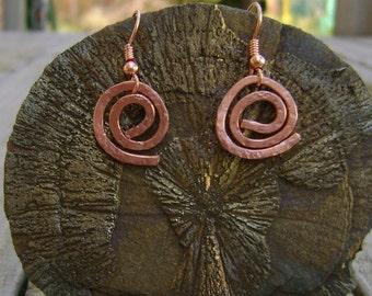Copper Spiral  Earrings,Hand Forged Artisan Earrings, Hammered Copper Earrings, Rustic Earrings, Bright Copper Earrings, Metalwork Jewelry