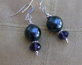 Swarovski Earrings Tahitian Style Pearl and Sterling Silver Earrings