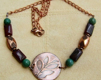 Turquoise Jasper Necklace with Copper Focal and Chain Boho Style