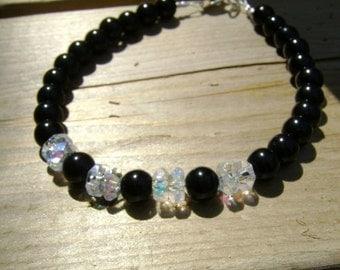 Black Onyx and Faceted Crystal Rondel Bracelet Tuxedo