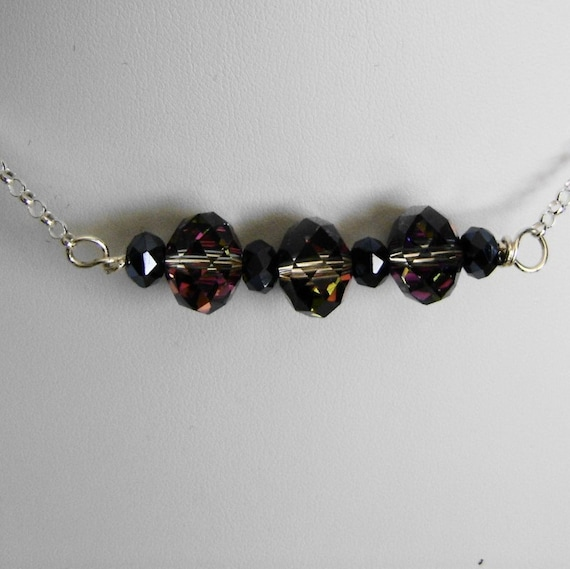 Colored Crystal and Sterling Silver Necklace Handmade Wire Wrapped Faceted Rainbow