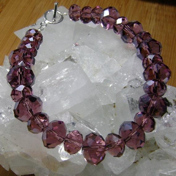 Rhodolite Crystal Bracelet with Sterling Silver, Rhodolite and Silver Bracelet, Crystal Bracelet, Rhodolite Jewelry, Crystal Jewelry