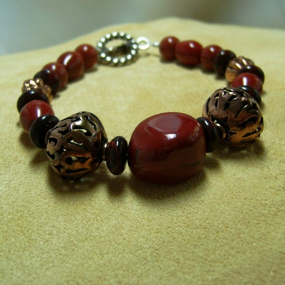 Red Jasper Bracelet with Filigree Copper Bohemian