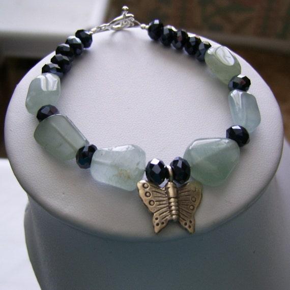 Aquamarine Bracelet, Butterfly Bracelet, Gemstone and Crystal Bracelet, Aquamarine Jewelry,March Birthstone, Blue Gemstone, March Birthday