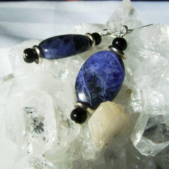 Sodalite Dangle Earrings Deep Blue Gemstone Earrings