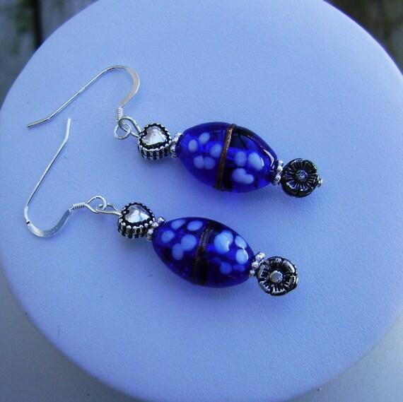 Cobalt Blue Flower Lampwork Glass and Sterling Silver Earrings