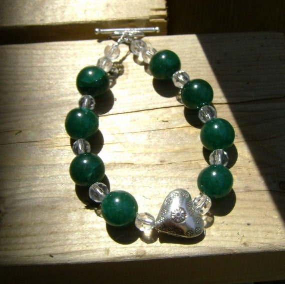 Jade, Crystal and Hill Tribe Silver Bracelet