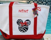 Personalized monogrammed Disney zebra heavy canvas tote boat beach overnight diaper Minnie Mickey Mouse bag
