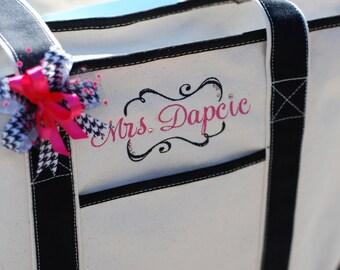 Personalized monogrammed heavy canvas boat bag beach tote bag teacher gift bride bridesmaid bag wedding flower girl diaper bag