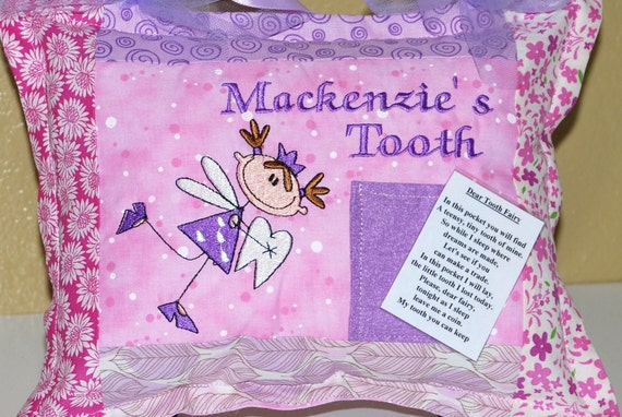 Girls Personalized Tooth Fairy Pillow With Laminated Poem To
