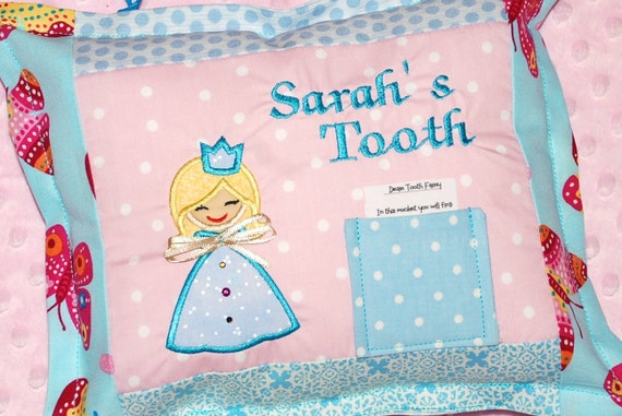 Girls personalized custom tooth fairy pillow with laminated poem to tooth fairy can add official letter to child from fairy