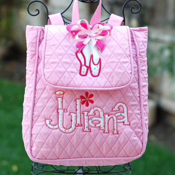 Girls personalized dance ballet quilted backpack with name and dance shoes pink