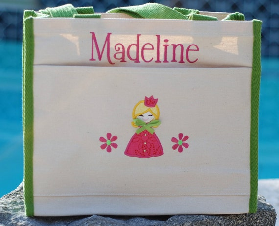 Girls personalized princess canvas tote bag  flowergirl bag