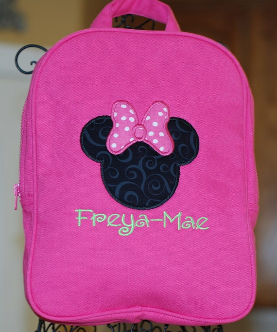 Girls personalized quilted backpack with name and Minnie Mouse Disney mickey great flower girl gift