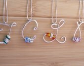 Custom Bridal Party Initial Monogram Necklace Handmade Wedding Jewelry With Birthstone Crystals for Bridesmaids