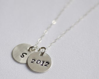 Sterling Initial Graduate Necklace  Hand Stamped Letter Charm  and Graduation Year by I Heart This