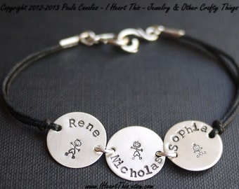 Three Charm Sterling Silver Handstamped Bracelet with Cotton Cord by I Heart This