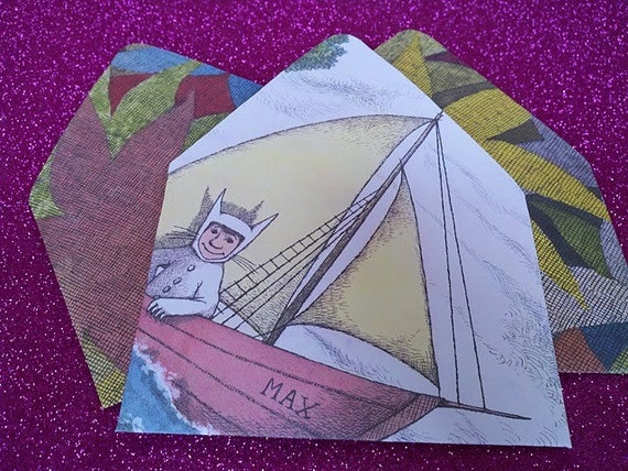 Handmade Upcycled Stationery - Where the Wild Things Are Stationery Set- 7  Recycled Paper Envelopes
