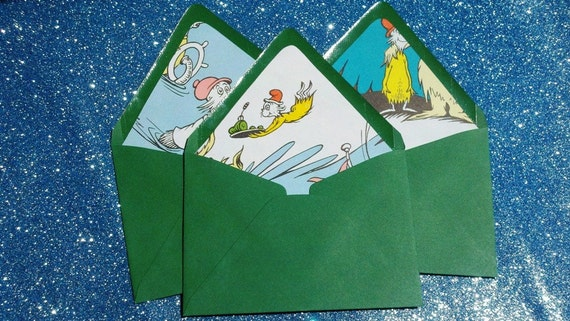 Dr Seuss Green Eggs and Ham Recycled Stationery Set of 10 Upcycled Envelope Liners