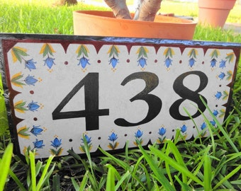 Custom Hand Painted House Number Tile