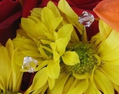 25 Crystal 8mm BICONE Wedding Bouquet Jewelry Flower Jewels CLEAR or IRIDESCENT