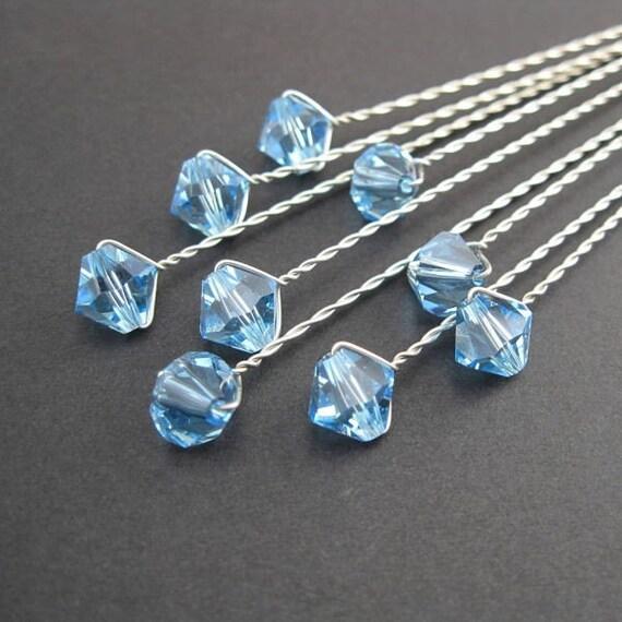 Swarovski Bouquet Jewelry AQUA Something Blue Bicone Flower Jewels 24 stems
