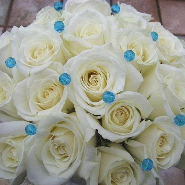Turquoise Flowers For Wedding: 100 Turquoise Crystal Wedding Flower Bouquet Jewelry Pins Blue