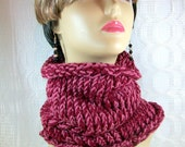 Knit Cowl Neckwarmer in  Claret and Mauve