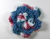 Crochet Flower in Blue, Mauve, and White