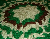 Green and Brown Crocheted Trivet