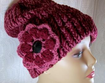 Winter Hat for Women / Knit Hat / Slouchy Hat / Knit Cap / Maroon Hat / Winter Cap / Women's Hat / Warm Hat / Handmade Hat