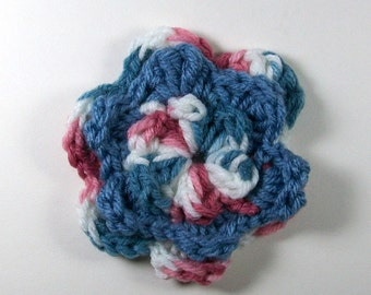 Crochet Flower in Blue, Mauve, and White