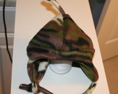 Baby\/ Toddler\/Child's Fleece Earflap Hat in camo pattern with chin-strap - Choose size infant to size 5\/6