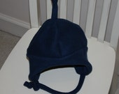 Baby/Toddler/Child's Fleece Earflap Hat in Navy with chin-strap - Choose size infant to size 5/6