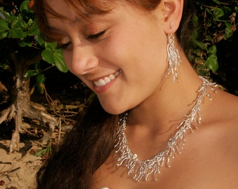 Hawai'ian Coral Reef  Necklace and Earrings Set