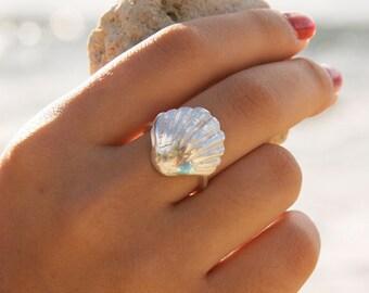 Kaleimaeole Silver Sunrise Shell Ring