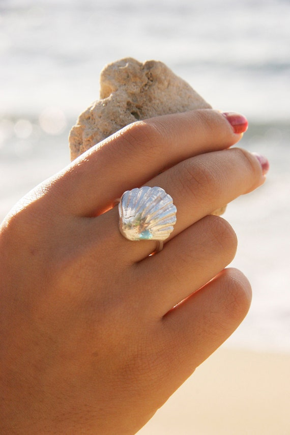 ON SALE through Valentines! Silver Sunrise Shell Ring