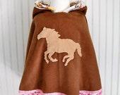 Horse Fleece Cape Poncho with Hood Pony Fleece Hoodie Equestrian Poncho Fall jacket Girls Size Horse Hoodie Girls Outerwear Fleece Poncho