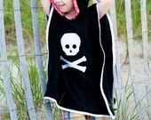 Swimsuit Cover Up in Black Terry Skull Cover Up with Red Hood - Size 5 / 6