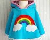Rainbow Poncho Rainbow Cape Girls Fleece Hoodie Rainbow Jacket Rainbow Hoodie Girls Outerwear Fleece Poncho