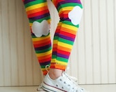 Girls Leggings Rainbow Leggings Rainbow Tights Knee Patch Leggings Mutlicolored Leggings Toddler Girl Leggings Girls Tights