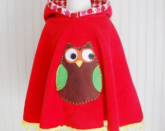 Owl Poncho Owl Cape in Red with Apple Hood Owl Cape Fleece Cape Fleece Poncho Girls Cape Girls Poncho