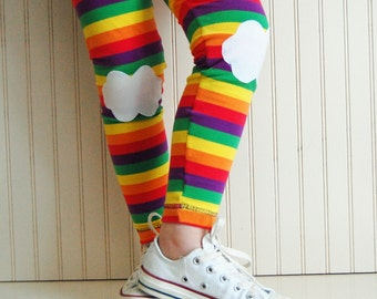 Rainbow Leggings with Clouds Rainbow Tights Leggings - Girls' Sizes 2T, 3T,  4/5, 6/7 - by The Trendy Tot