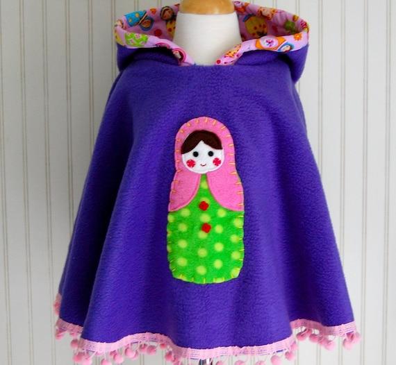 Purple Fleece Poncho. Nesting Doll Cape. Matryoshka Poncho. Girls Fleece Hooded Poncho. Nesting Doll Poncho. Hand Embroidered Babushka Cape