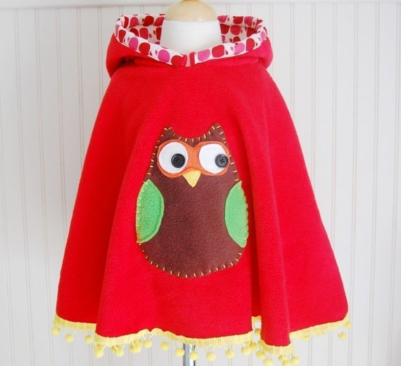 Owl Poncho. Owl Cape. Fleece Poncho. Poncho with Hood. Fleece Cape. Red Cape. Girls Fleece Poncho. Ready to ship. Little Girl Gift