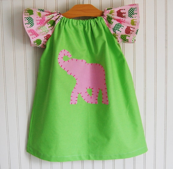 Elephant Dress in Pink and Green  - Preppy Short Sleeve Peasant Dress in  2/3T, 4/5, 6/7 by The Trendy Tot