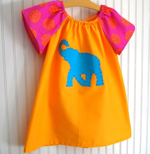 Exotic Elephant Dress - Size 4-5T is ready to ship by The Trendy Tot