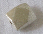 Brushed Square Flat Facet - Bali Sterling Silver Bead, Pack of  2